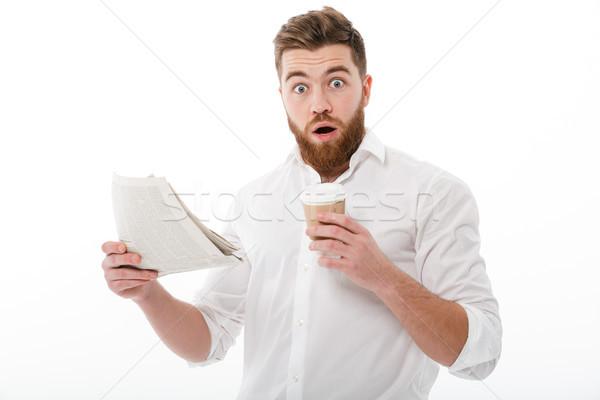 Geschokt bebaarde man business kleding Stockfoto © deandrobot