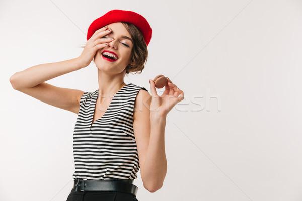 портрет счастливым женщину красный берет Сток-фото © deandrobot