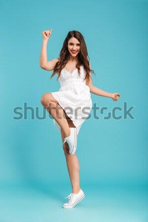 Porträt verspielt Mädchen Badeanzug posiert Stock foto © deandrobot