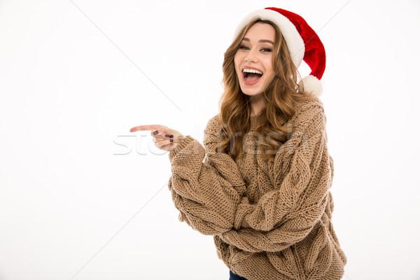 Stock fotó: Nő · meleg · pulóver · visel · karácsony · kalap