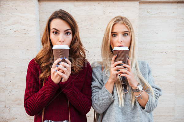 Portrait of a two pretty shocked girls holding coffee cups Stock photo © deandrobot