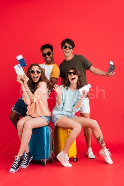 группа счастливым возбужденный друзей Сток-фото © deandrobot