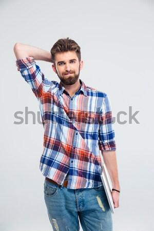 Stockfoto: Portret · ontdaan · jonge · man · shirt · hoofdpijn