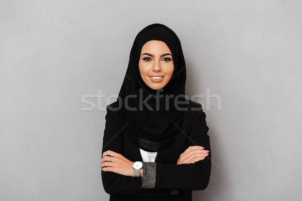 Retrato muçulmano elegante mulher 20s preto Foto stock © deandrobot
