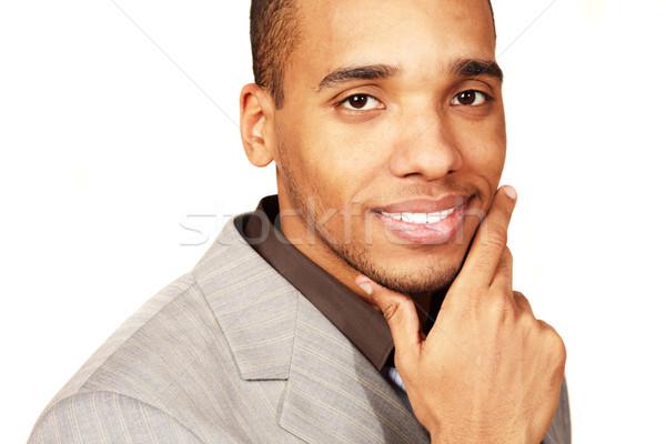 портрет молодые счастливым бизнесмен изолированный Сток-фото © deandrobot