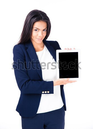 Smiling businesswoman showing tablet computer screen Stock photo © deandrobot