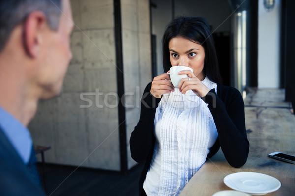 ストックフォト: 女性実業家 · ビジネスマン · 飲料 · コーヒー · カフェ · 男
