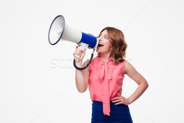 Femme hurlant haut-parleur isolé blanche Photo stock © deandrobot