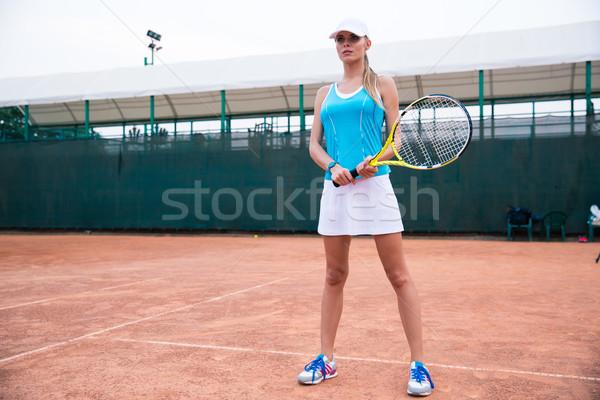 Tennisspeler permanente racket buitenshuis portret Stockfoto © deandrobot