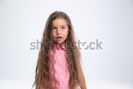 Retrato maravilhado little girl cópia espaço isolado Foto stock © deandrobot