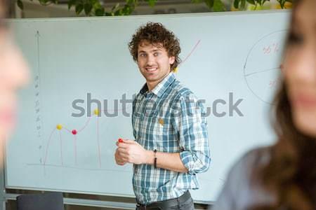 Derűs sikeres férfi kiemelt kéz felfelé Stock fotó © deandrobot