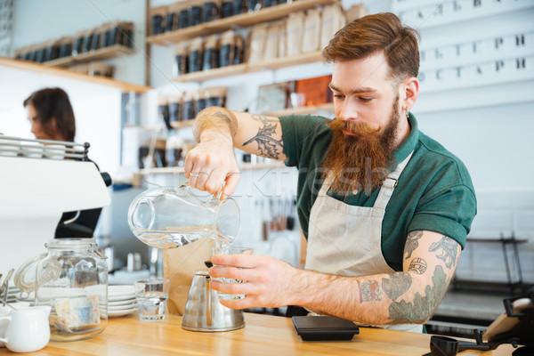 Barista water glas coffeeshop koffie Stockfoto © deandrobot