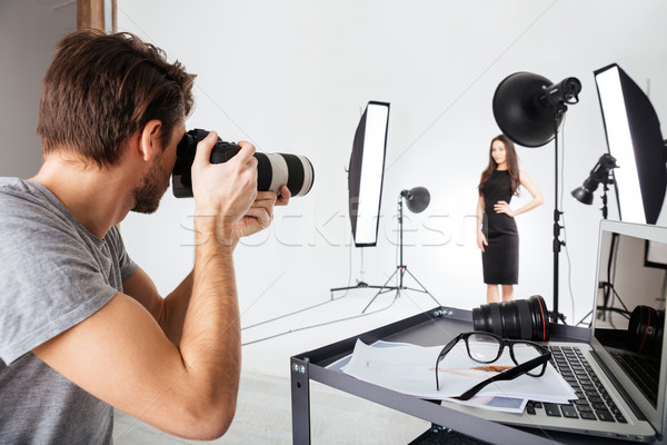 Photographe tir modèle studio mode fond Photo stock © deandrobot