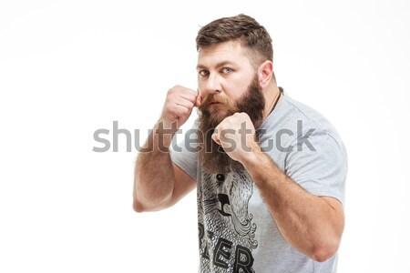 Homem em pé boxeador posição pronto lutar Foto stock © deandrobot