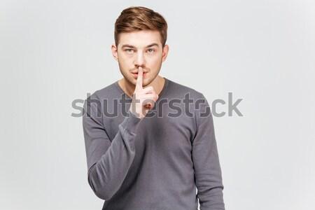 красивый молодым человеком серый свитер молчание Сток-фото © deandrobot