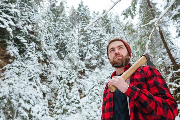 серьезный человека топор ходьбе зима Сток-фото © deandrobot