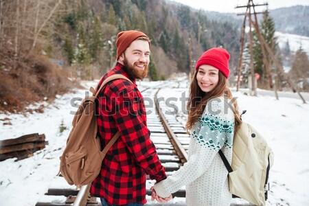 Felice Coppia piedi ferrovia guardando indietro Foto d'archivio © deandrobot