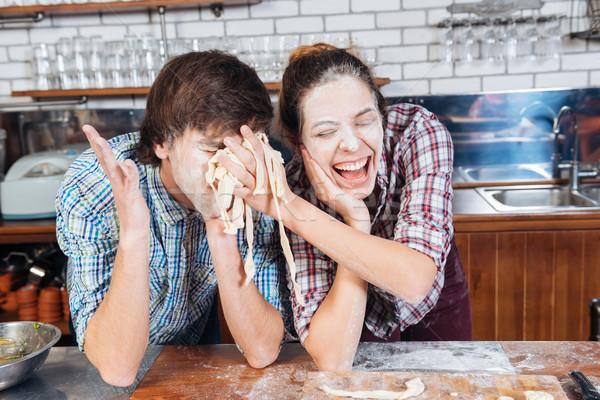 смешные пару мучной лицах Сток-фото © deandrobot