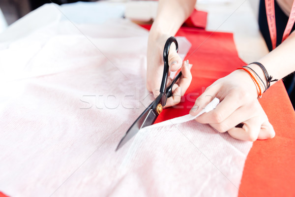 Hands of woman seamstress with scissors cutting fabric  Stock photo © deandrobot