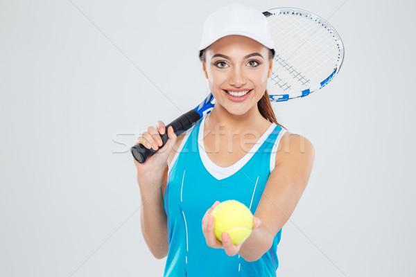 Boldog női teniszező néz kamera portré Stock fotó © deandrobot