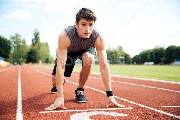Portret atleet klaar lopen jonge gespierd Stockfoto © deandrobot