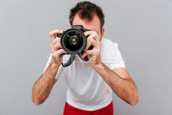 Portré férfi fotós kamera elvesz fotó Stock fotó © deandrobot