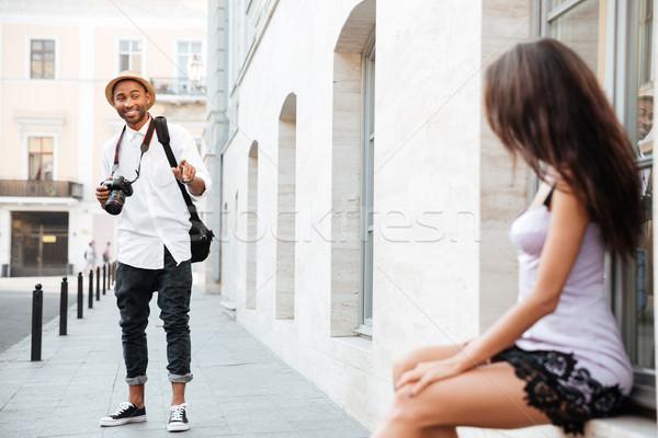 Siyah adam moda model sokak aile adam Stok fotoğraf © deandrobot