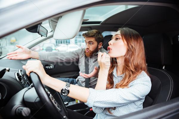 Nina rueda hombre coche labios vista lateral Foto stock © deandrobot