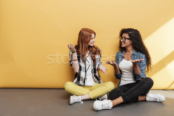 Two smiling confused women sitting with legs crossed and talking Stock photo © deandrobot