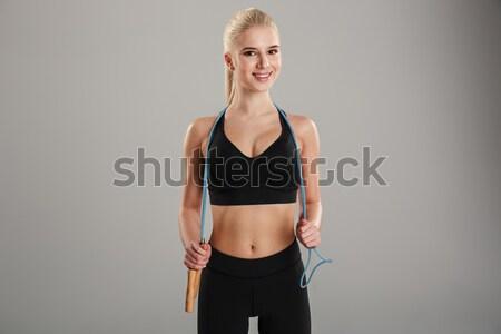 молодые Фитнес-женщины черный спортивная одежда белый девушки Сток-фото © deandrobot