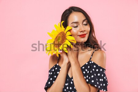 Sexy girl with pineapple Stock photo © deandrobot