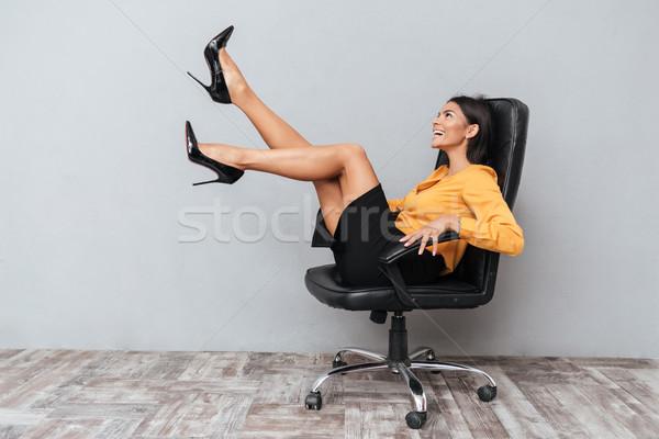 Gelukkig vrolijk zakenvrouw vergadering stoel handen omhoog Stockfoto © deandrobot