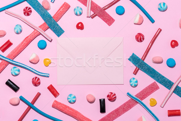 Sweet jelly licorice candy sticks and lollies with different flavor Stock photo © deandrobot