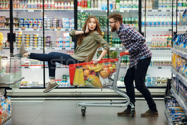 Photo stock: Belle · couple · alimentaire · supermarché