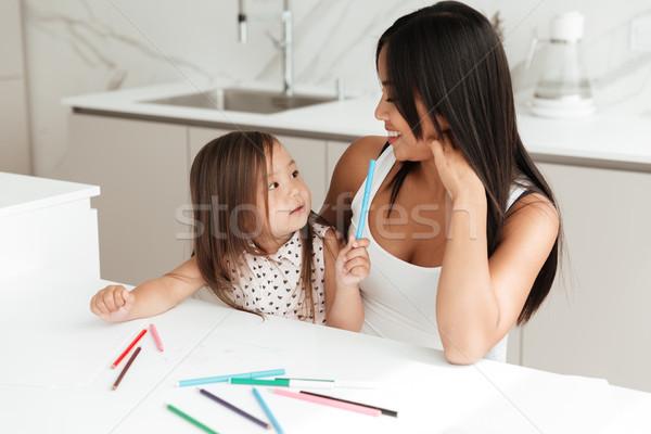 Сток-фото: счастливым · молодые · мамы · мало · дочь · рисунок