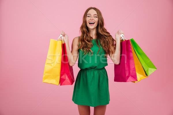 Porträt lächelnd zufrieden Frau Kleid lachen Stock foto © deandrobot