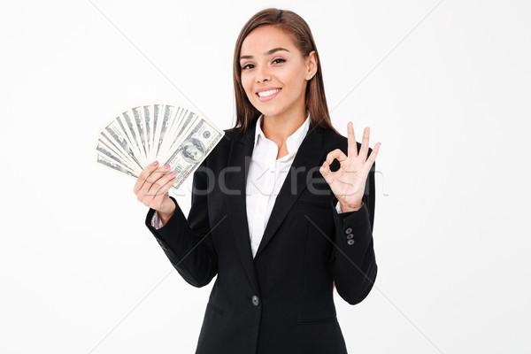 Alegre mulher de negócios okay gesto Foto stock © deandrobot