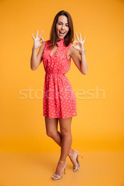 Portrait jeunes élégante femme robe rouge Photo stock © deandrobot