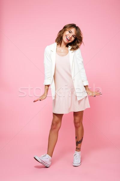 Stock fotó: Teljes · alakos · portré · derűs · lány · nyár · ruha