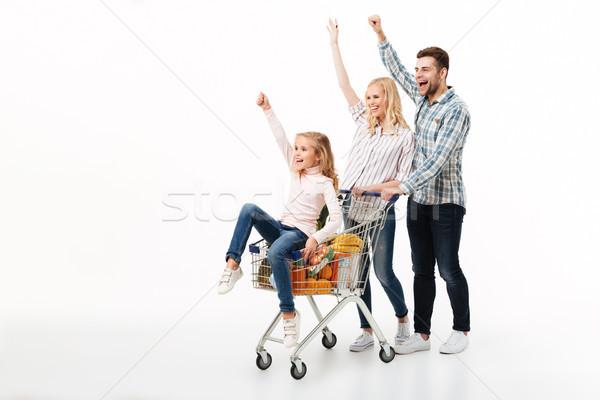 Stock fotó: Teljes · alakos · portré · derűs · család · sétál · bevásárlókocsi