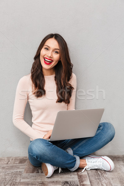Full-length photo of satisfied and happy woman with red lips wat Stock photo © deandrobot