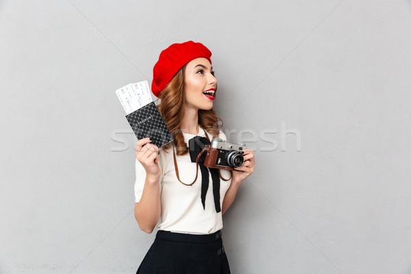 Portrait of a satisfied schoolgirl dressed in uniform Stock photo © deandrobot