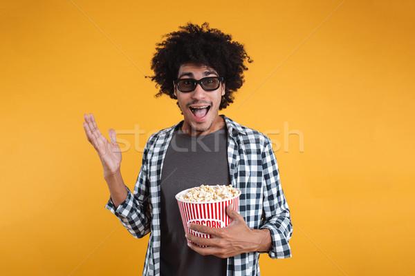 Portret wesoły afro amerykański człowiek okulary 3d Zdjęcia stock © deandrobot