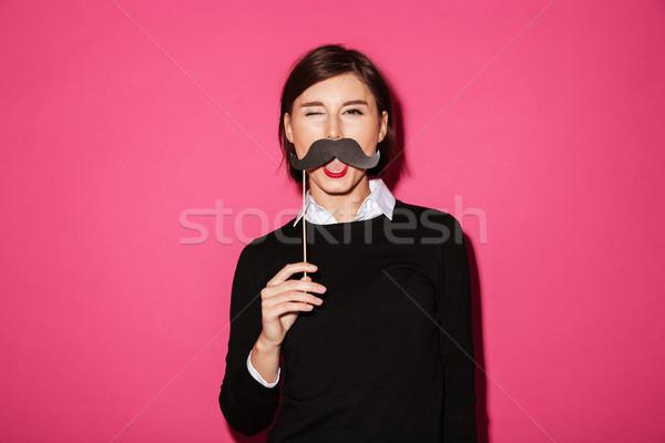Stok fotoğraf: Portre · komik · genç · işkadını · kâğıt