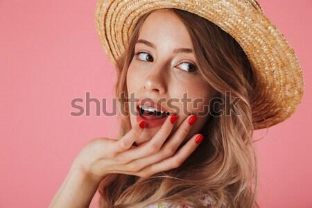 Tiro dama comer postre aislado rosa Foto stock © deandrobot