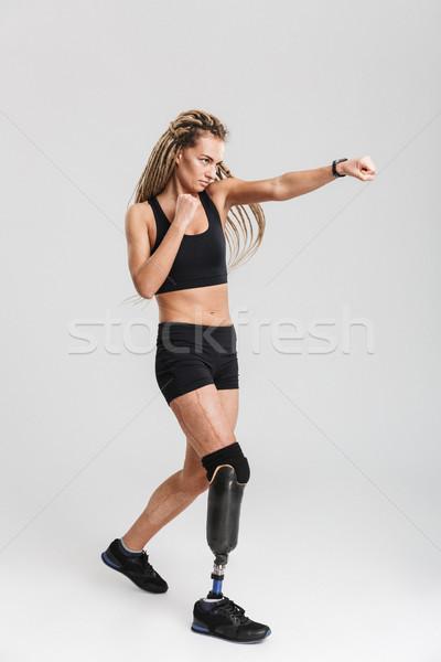 Güçlü sağlıklı genç özürlü boksör savaşçı Stok fotoğraf © deandrobot