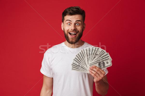 Fotografia szczęśliwy europejski człowiek przypadkowy tshirt Zdjęcia stock © deandrobot