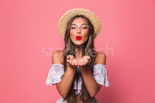 портрет красивая женщина 20-х годов соломенной шляпе улыбаясь Сток-фото © deandrobot