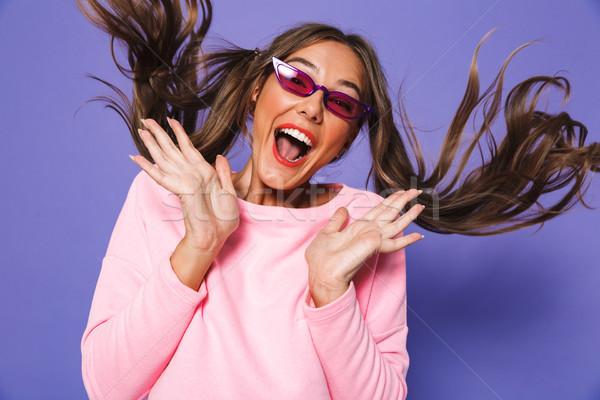 Portré tini meglepett nő kettő pulóver Stock fotó © deandrobot