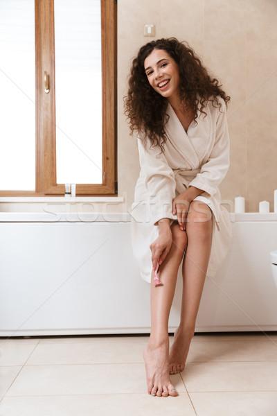 Mulher banheiro pernas foto belo feliz Foto stock © deandrobot